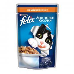 Корм для кошек Purina Felix — «Аппетитные кусочки в желе» с индейкой