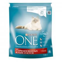 PURINA ONE для стерилизованных кошек и котов с говядиной и пшеницей