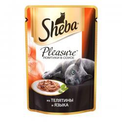 Sheba Pleasure — ломтики в соусе с телятиной и языком для взрослых кошек