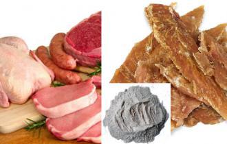 Мясо (свежее мясо (курица, свинина, говядина) 30%, сушеное мясо курицы 21%, гидролизованная куриная печень 3,5%)