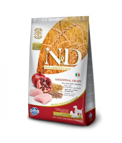 Корм для собак Farmina N&D Low Grain Chicken & Pomegranate Light Mini & Medium