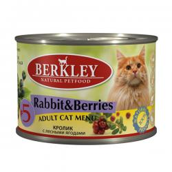 Корм для кошек Berkley Adult Cat Menu №5 Rabbit & Berries