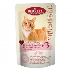 Корм Berkley Fricassee Adult Cat Menu #3 Duck & Chicken Fillet with Herbs in Sauce
