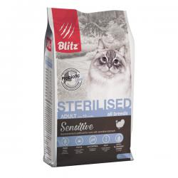 Корм для кошек Blitz Adult Cat Sensitive Sterilised Turkey
