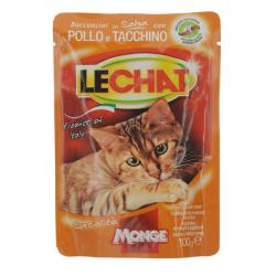 Корм для кошек Monge Lechat Chunks in Sauce with Chicken and Turkey