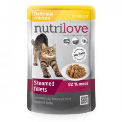 Корм для кошек Nutrilove Adult Cat — Steamed Fillets with Delicious Chicken in Sauce