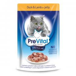 Корм для кошек PreVital Premium Adult Cat — Duck & Lamb in Jelly