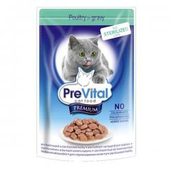 Корм для кошек PreVital Premium Adult Cat Sterilized — Poultry in Gravy
