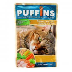 Корм для кошек Puffins — «Сочные кусочки курицы в желе»
