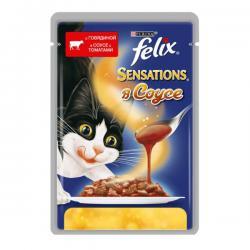 Корм Purina Felix Sensations в соусе с говядиной и с томатами
