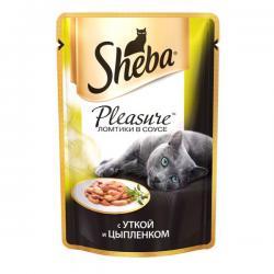 Корм Sheba Pleasure ломтики в соусе с уткой и цыплёнком