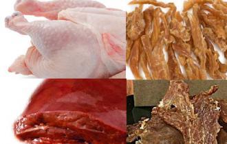Мясо (27,5% куриное мясо свежее, 30,5% куриное мясо сушёное, 6% мясо индейки сушёное, 4% свиная печень)
