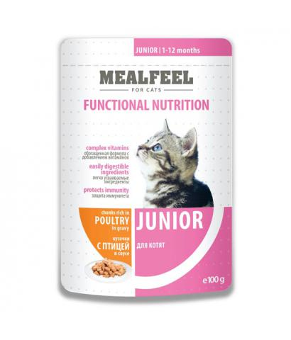 Корм для котят Mealfeel Junior — Chunks in Gravy Rich in Poultry