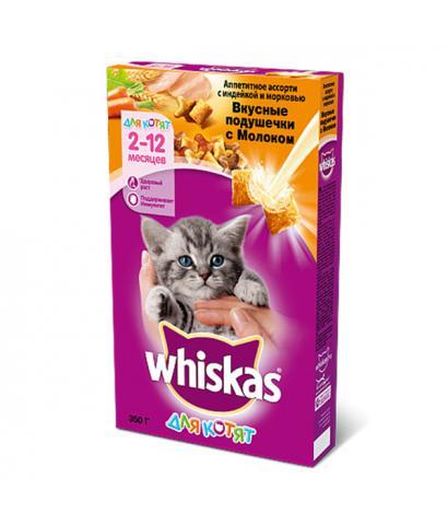 Whiskas Вкусные подушечки для котят с молоком, индейкой и морковью