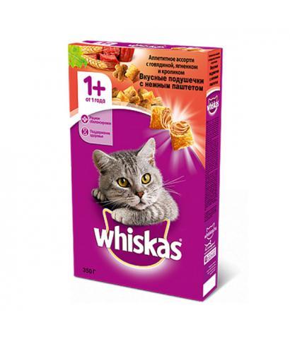 Whiskas Вкусные подушечки с нежным паштетом - Аппетитное ассорти с говядиной, ягненком и кроликом