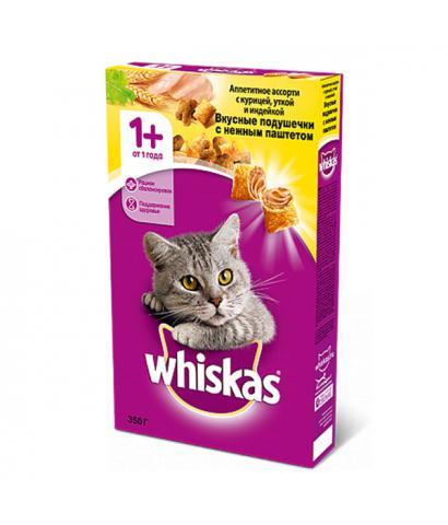 Whiskas Вкусные подушечки с нежным паштетом - Аппетитное ассорти с курицей, уткой и индейкой
