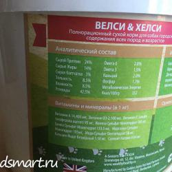 Фото аналитического состава корма Wealthy & Healthy — Be Healthy! Dog All Breeds All Life Stages Lamb Grain Free